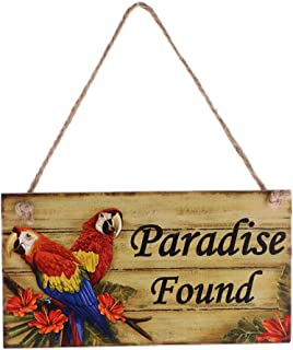 Jili Online Vintage Welcome to Paradise/Paradise Found Wooden Plaque Wall Door Hanging Decoration with Jute Twine - Paradise Found