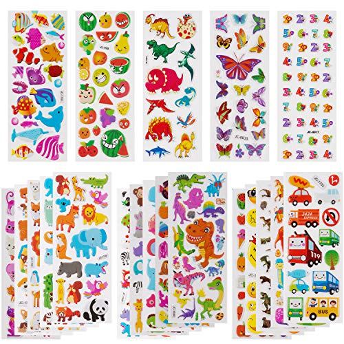 SAVITA 3D Aufkleber für Kinder & Kleinkinder 500+ Geschwollen Stickers Niedliche Verschiedene Set Buchstaben Zahlen, Schmetterlinge, Fische, Dinosaurier und vieles mehr(6 Stil) (Dinosaurier)