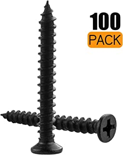 """A+Selected 100 PCS M5 Wood Screws Black, 10 x 1-3/16"""" Oxide Finish Metal Flat Phillips Screws, Self-Tapping Screw Fastener for Wood and Drywall, Set of 100 M5x30MM Metric Threaded Wood Screw"""