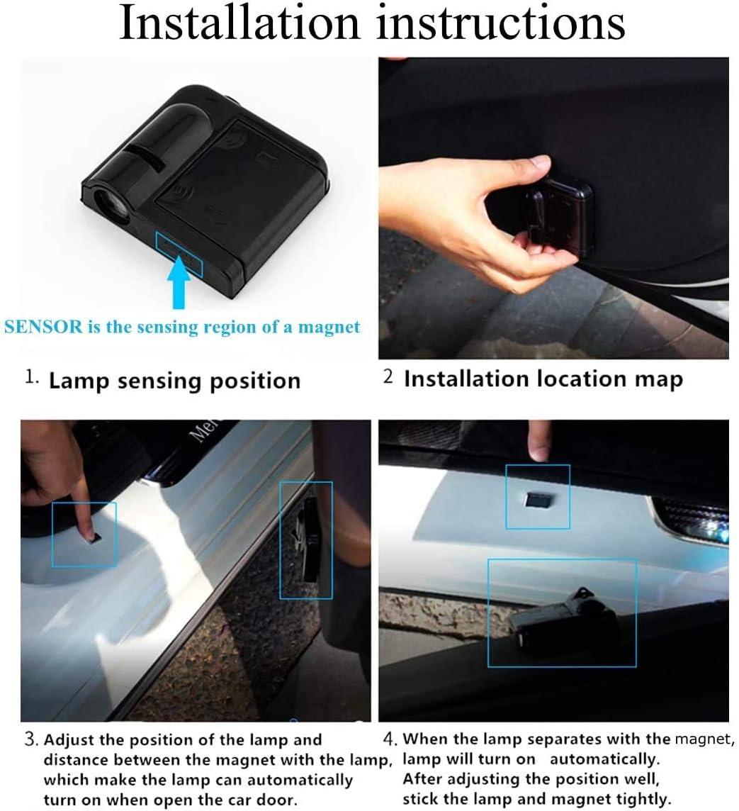 Universal Drahtlose Wireless Magnetisch Sensor Schatten Logo Licht f/ür Autot/ür Auto Projektor Licht FTUNG 2PCS Autot/ür Muster Schatten Licht