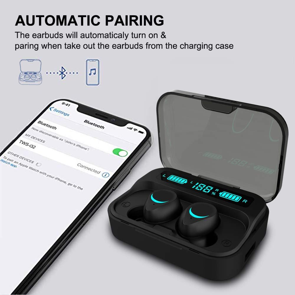 Huyeta Auriculares Bluetooth 5.0, Emparejamiento Automático Wireless Earbuds TWS In-Ear Sport Auricular con Mic 3D Estéreo LED Estuche de Carga 3000mAh IPX5 Impermeable (2): Amazon.es: Electrónica