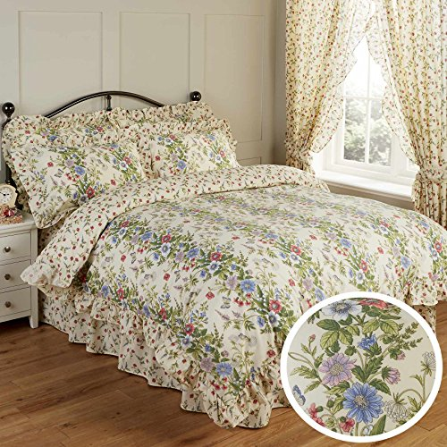 Vantona Country Jessica Floral Print Frill Bedding Duvet Cover 2 Pillowcase Set - Super King Size