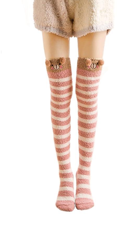 Young_Me Women's Cartoon Fuzzy Socks Leg Warmer Over Knee High Socks