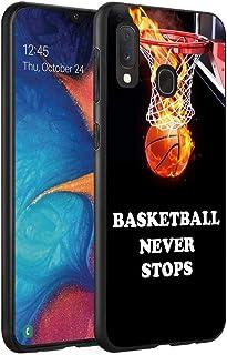 Galaxy A10E Case, Galaxy A20E Case, Slim Impact Resistant Shock-Absorption Silicone Protective Case Cover for Samsung Galaxy A10E (2019)/A20E (2019) - Basketball Never Stops