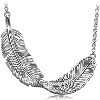 "PN PRINCESS NINA Women's Jewelry ❤️Soft Tender Whisper❤️ 925 Sterling Silver Feather Pendant Necklace, 18""+2"" Extender with Gift Box"