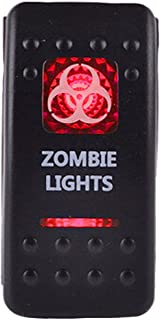 ESUPPORT Car Red LED Zombie Light Rocker Toggle Switch ON Off 12V 20A, 24V 10A