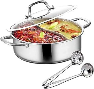 Hot Pot met scheidingswand, Shabu Shabu Hot Pot roestvrij staal met scheidingswand en deksel keukenkookgerei kookpannen (2...