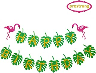 Hawaiian Flamingo Party Happy Birthday Banner for Tropical Luau Party Palm Leaf Decorations