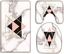 A.Monamour Bath Mat Set of 3 Gold Pink Black Triangles Geometric Marble Texture Background Flannel Washable Toilet Pedesta...