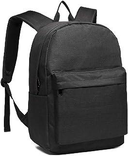 Kono Rucksack Schule Unisex Leichten Canvas Backpack für Reise Wandern,Schulrucksack mit 15.4 Zoll Laptopfach, 22 Liters Schwarz