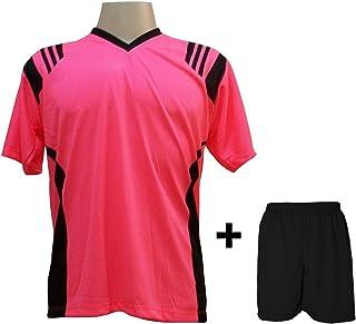 563bdc09f9238 Uniforme Esportivo com 12 camisas modelo Roma Rosa Preto + 12 calções modelo  Madrid Preto