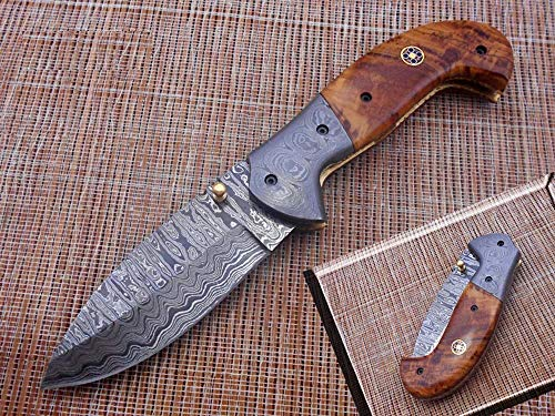 7.5' Folding Knife, Hand Forged Twist Pattern Damascus Steel Rose Wood Scale with Damascus Bolster Pocket Knife, Equipped with Brass Liner Lock & Thumb knob, Cow Hide Leather Sheath (Wood)