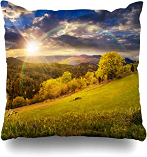 Ahawoso Throw Pillow Covers Haze Green Field Composite Rural Fence Near Meadow Hill Nature Rainbow Parks Forest Mountain Design Home Decor Zippered Pillowcase Square Size 18 x 18 Inches Cushion Case