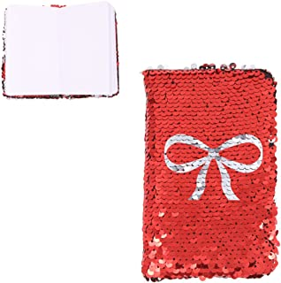 Unigift A6 Magic Sequin Notebook, Reversible Sequin Journal (Red-Silver)
