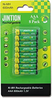JINTION AAA Rechargeable Batteries 8 Pack NiMh Triple A 600mAh Rechargeable AAA Batteries for Solar Lights Remote Controls