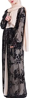 Bestgift Women's Embroidery Abaya Open Front Loose Lace Dress