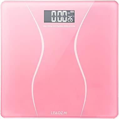 NUFR Home 180Kg Slim Waist Pattern Personal Scale Pink ExtraWide/UltraThick Digital Body Weight Bathroom Scale Easy to Read U