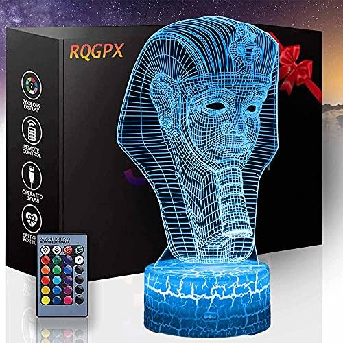 Faraón egipcio ilusión óptica 3D lámpara 3D luces 16 colores cambio gradual interruptor táctil USB lámpara de mesa para regalos de vacaciones o decoraciones del hogar