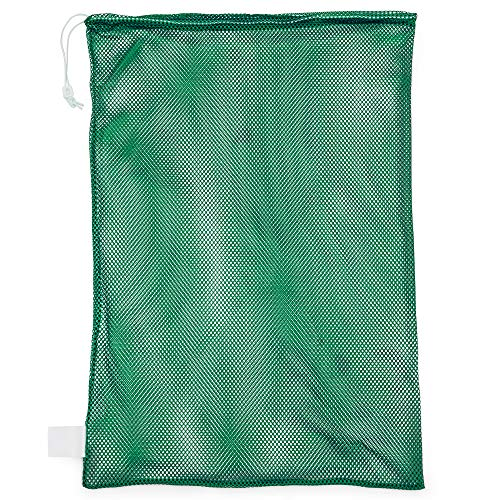 Champion Sports Mesh Sports Equipment Bag, Green, 24x36 Inches - Multipurpose, Nylon Drawstring Bag with Lock and ID Tag for Balls, Beach, Laundry