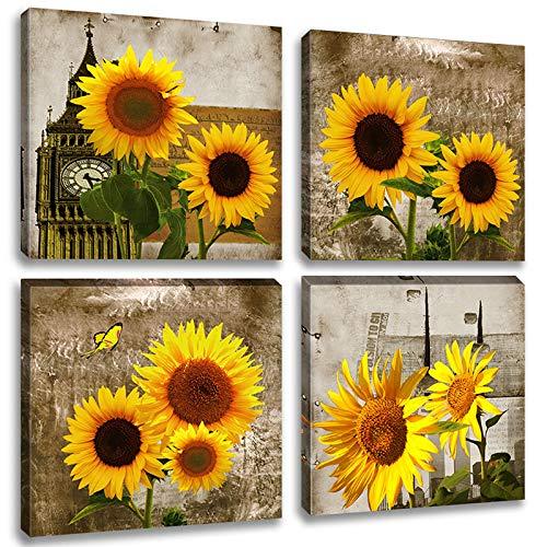 Sonnenblumen-Wandbild auf Leinwand, blühende gelbe Blumen, Kunstwerk, 4 Paneele, abstraktes Blumenbild für Wohnzimmer, Bauernhof, Heimdekoration, fertig zum Aufhängen