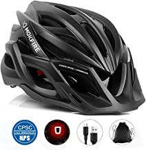 MOKFIRE Adult Bike Helmet CPSC Certified with Rechargeable USB Light, Bicycle Helmet for..