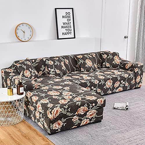 WXQY Fundas de Tela Escocesa elástica Funda de sofá elástica Funda de sofá de protección para Mascotas Esquina en Forma de L Funda de sofá Todo Incluido A13 4 plazas
