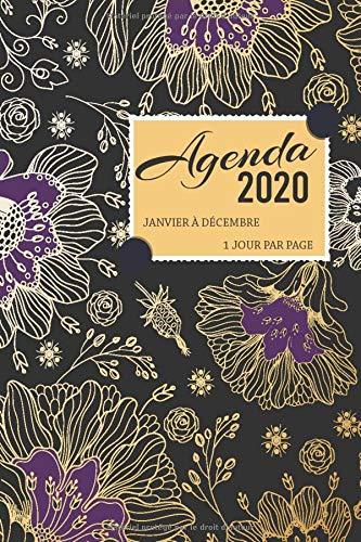 Agenda 2020 janvier à décembre 1 jour par page: Planificateur 12 mois journalier 2020 avec couverture fleurie violet et noir