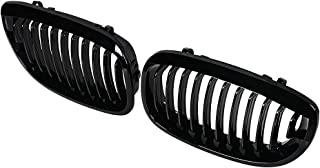 Anzio 1 Pair of Front Kidney Glossy Black Grill Grilles Replacement for 2003-2006 BMW E46 2-Door Coupe Cabriolet- LCI Models OE: 51137064317 51137064318