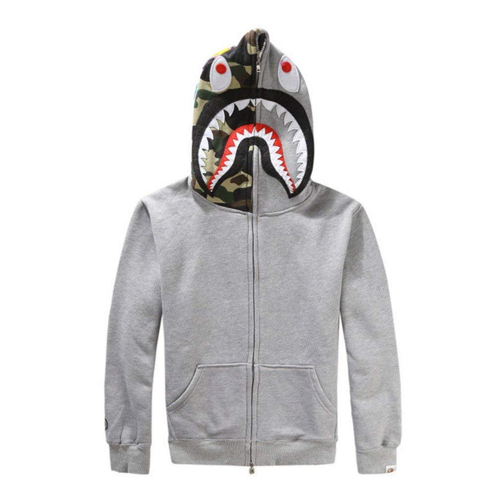 Japan Bathing Ape Bape Jacket Men Shark Head FULL ZIP HOODIE Sweater Jacket New