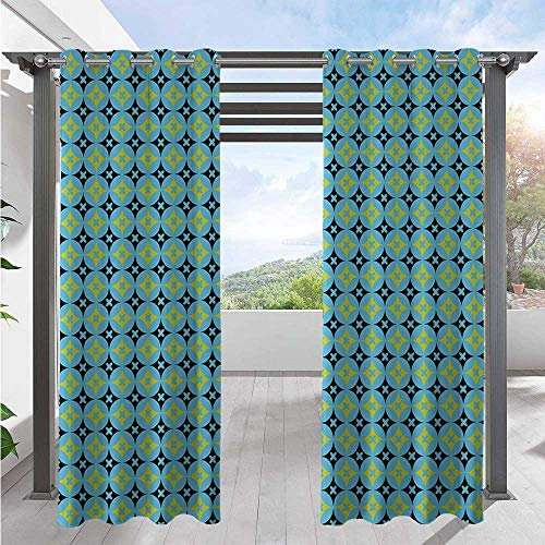 Adorise Patio Curtain Star Design Vivid Circles Geometric Shapes Floral Nature Inspired Pattern Outdoor Porch Curtains Great for Your Outdoor Deck Black Blue Green W72 x L84 Inch