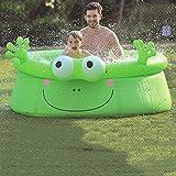 Saladplates-LXM Familienpool Aufblasbare Kiddie Frosch-Pool, Baby Pool Sommer Kinder Planschbecken Hinterhof-Pool aufblasbares Wasser Pool for Kinder Indoor & Outdoor68.8x24.4in
