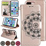 Rosegold Fold Leather Wallet Cell Phone Case for iPhone X/XS 5.8inch Fashion Style Women Flower Design iPhoneX Kickstand Magnetic Pouch with Card Pocket Cover for iPhoneX XS (10) Flip Case