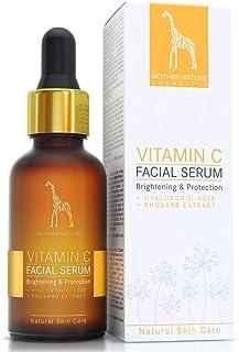 Vitamine C serum hoge dosis - 20% vitamine C anti-aging formule met hyaluronzuur en rehabarberextract - veganistisch - 30 ...