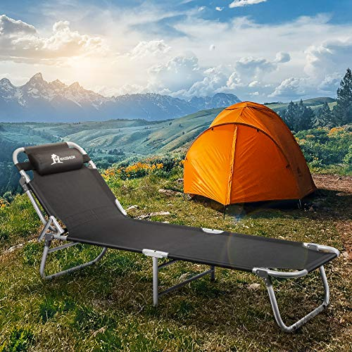 Portable Folding Camping Cot Bed,Heavy Duty Adjustable Head Height, Cot w/Pillow & Carry Bag (Black)