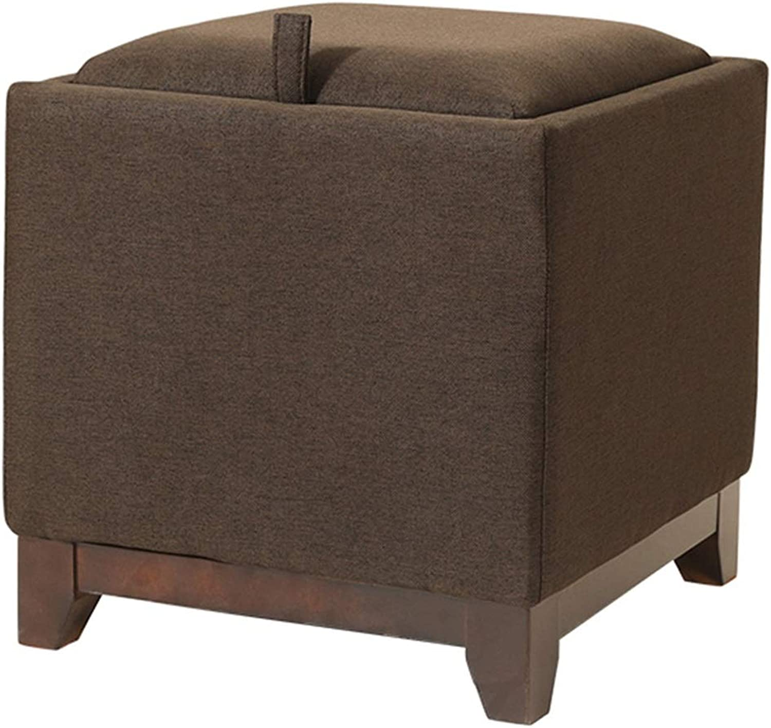 LSXIAO Pouffes And Footstools 4 Feet Solid Wood Frame Strong Load Bearing Capacity Multifunction Storage Stool, 5 colors (color   Brown, Size   40x40x40cm)