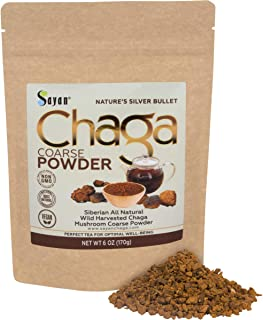 Sayan Siberian Raw Ground Chaga Powder 6 Oz (170g), Wild Forest Mushroom Tea, Powerful Adaptogen Antioxidant Supplement, S...