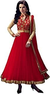 HomeDeal Women Net Semi-stiched Anarkali Salwar Suit WIth Dupatta