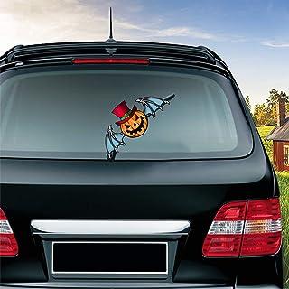 MIYSNEIRN Halloween Scary Bat Pumpkin Waving Wiper Decal for Rear Window 3D Cartoon Festive Car Sticker Reusable Waterproo...
