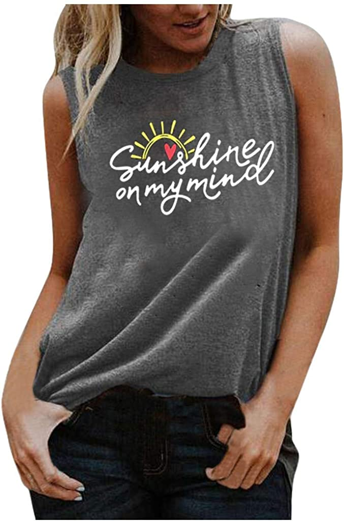 AODONG Tank Tops for Women, Tops for Women Sexy Elegant Women Summer Sunflower Graphic Tee Tank Tops Casual Sleeveless Comfy Cotton Shirts Vests White