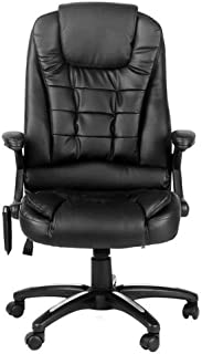JXBEAUTY Executive Premium PU Leather 8 Point Massage Office Computer heating Work Chair Padded Black Seat Armrest Chair