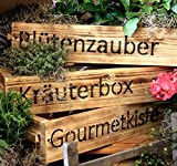 dekorie Blumenkasten Pflanzkasten Massivholz Pflanzkiste Aufbewahrungskiste geflammt mit Druck (Blütenzauber)