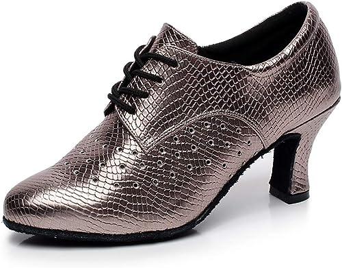 Damen Modern Salsa Tanzschuhe Tanzschuhe Tanzschuhe PU Leder Kunstleder High Heels Riemchen Funkelnden 7CM  Jetzt einkaufen