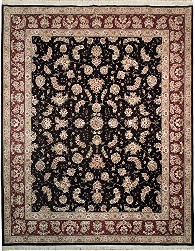Hand Knotted 8' x 10' Save money Burgundy Rug Black Al sold out. WoolSilk
