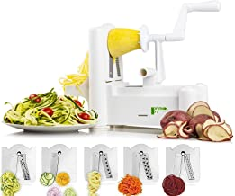 Food and Vegetable Spiralizer Mandoline Slicer: 5 Blade Spiral Chopper Peeler Grater Kitchen Gadgets