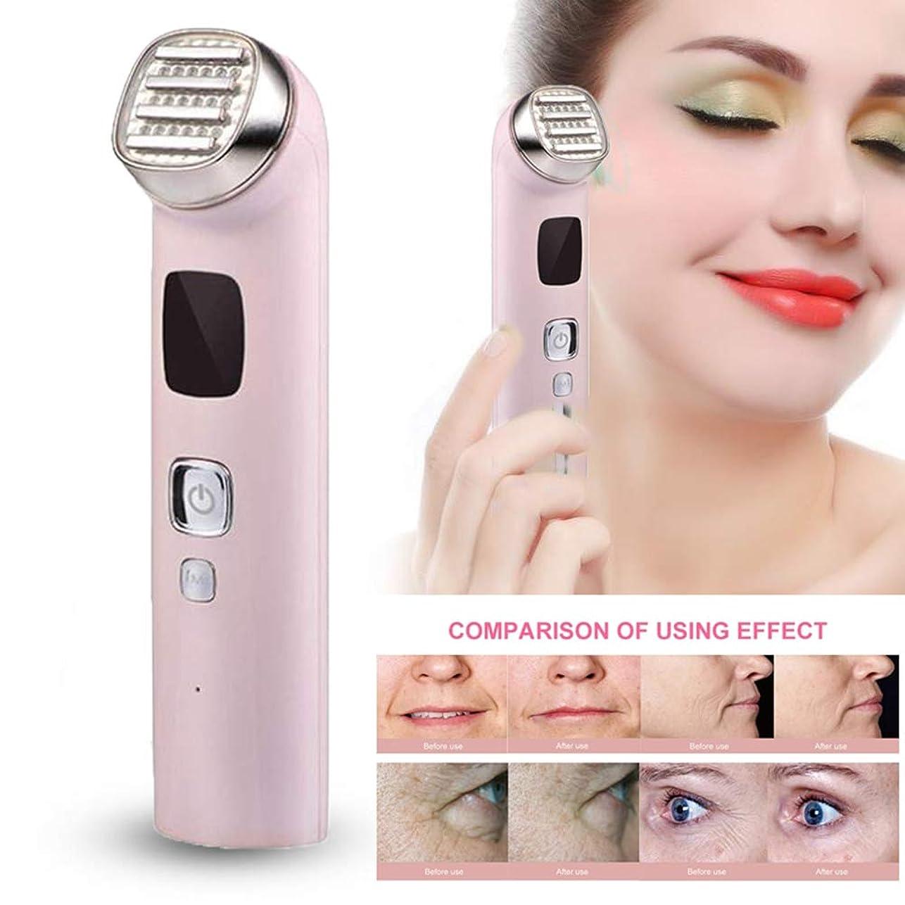 思われる理想的モロニック洗顔、メイク落とし、アンチエイジング、しわの除去、肌の引き締めのためのホット/コールド+イオン振動+ RF/EMS +レッド/ブルーライトセラピー付きの顔面美容機、5 IN 1電動フェイスマッサージャー