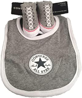 Converse Baby`s Bib & Booties Socks Set (0-6 Months,  Grey)