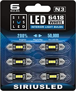 SiriusLED Super Bright 2835 Chipset Canbus Error Free LED Festoon Bulbs for Car Interior License Plate Dome Courtesy Light...