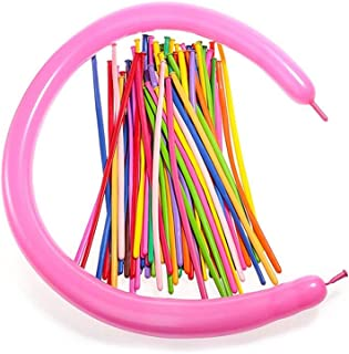 PARTY TIME - 100 Pieces Long Balloons Twisting Latex Balloons Assorted Color Long Balloons (Random Color) for Décor