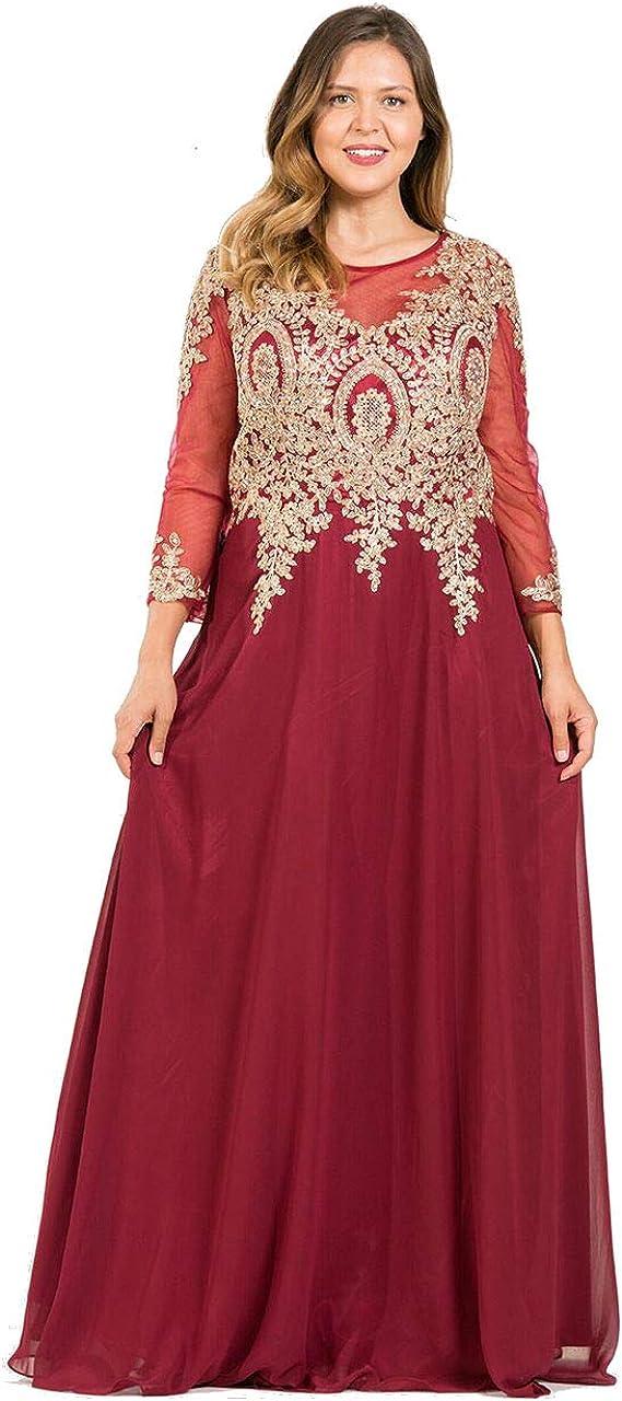 Long Sleeve 新作からSALEアイテム等お得な商品満載 Dress Plus Size Formal The Bur Mother Bride 3XL of 割引も実施中
