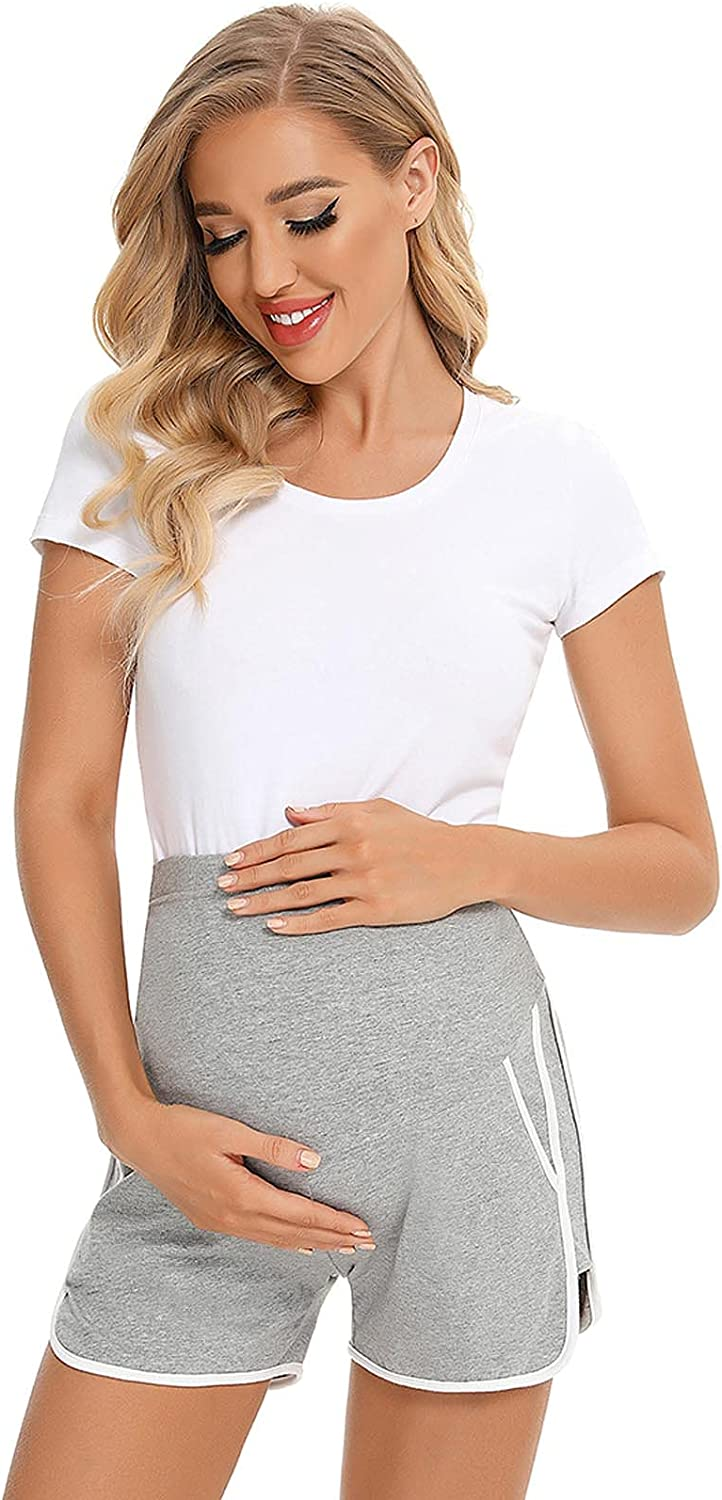 GOODTRADE8 Maternity Clothes Women Maternity Casual Comfortable Pockets Loose Contrast Color Pregnant Shorts